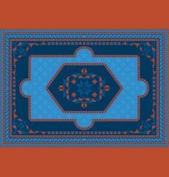 Luxury carpet with ethnic ornament in blue shad vector
