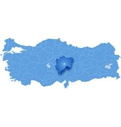 Map of Turkey Kayseri vector