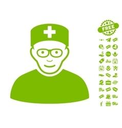 Medical specialist icon with free bonus vector