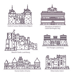Medieval european castles and fortin thin line vector