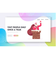 Merry christmas website landing page fat santa vector