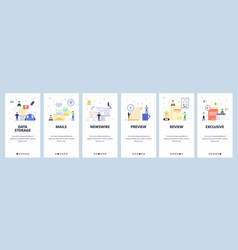 Mobile app onboarding screens data storage vector