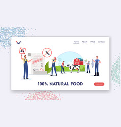 Natural food landing page template characters vector