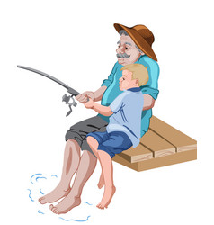 Old grandfather fishing with his grandson while vector