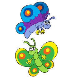 Pair of smiling butterflies vector