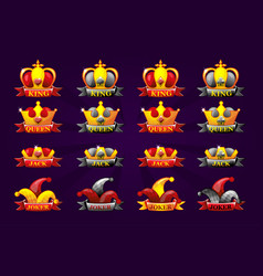 Playing cards icons with crown and ribbon poker vector