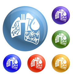 pneumonia virus lungs icons set vector image