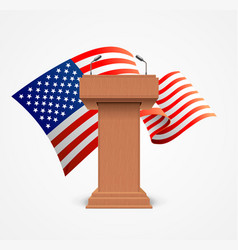 realistic 3d detailed usa flag and stage stand or vector image