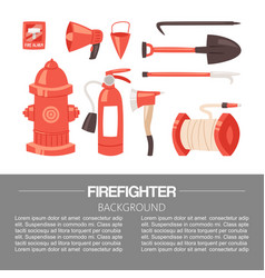red firefighter uniform and protection equipment vector image
