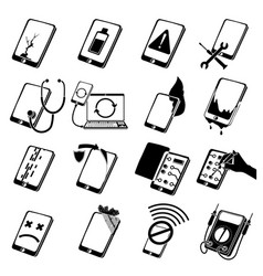 Repair phones fix icons set simple style vector