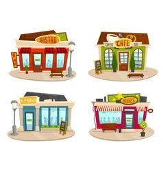 Restaurant or cafe buildings set front view vector