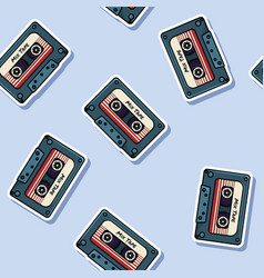 Retro mix tape stickers seamless pattern texture vector