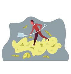 rich businessman dig shovel pile money successful vector image