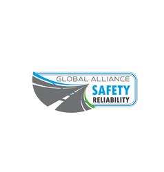 road traffic safety symbol with asphalt highway vector image