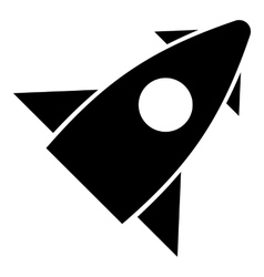 Rocket with one portholes icon simple style vector