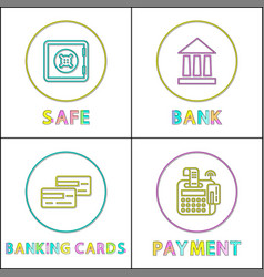 safe online bank round linear bright icons set vector image