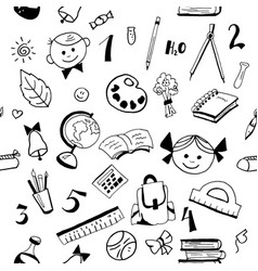 school item pattern on white vector image