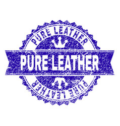 Scratched textured pure leather stamp seal with vector