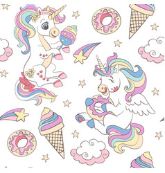 seamless pattern with funny unicorns vector image
