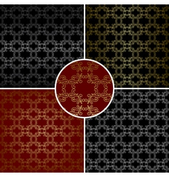 Seamless patterns with curved golden elements vector