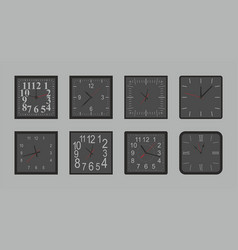 set of black square wall clock vector image