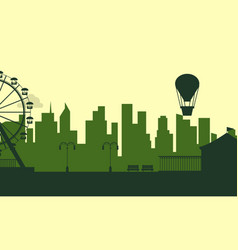 Silhouette of amusement park with city background vector