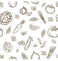 sketch of cute mix vegetables seamless pattern vector image