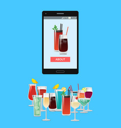 Smartphone and cocktails vector