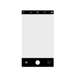 Smartphone camera app screen interface background vector
