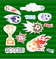 Soccer sketch stickers vector image