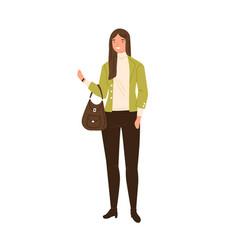 Stylish young woman wearing modern jacket vector