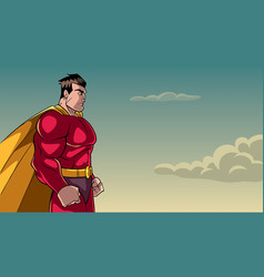Superhero side profile sky background vector