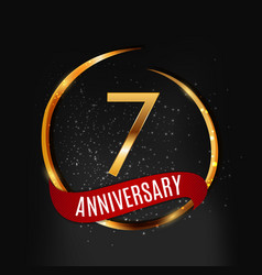 template gold logo 7 years anniversary with red vector image