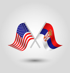 Two crossed american and serbian flags vector