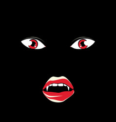 vampire face in the dark vector image