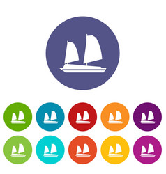 vietnamese junk boat set icons vector image vector image