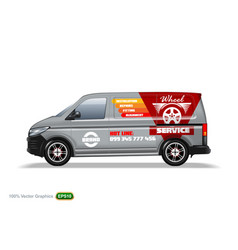 Wheel service grey delivery van template with vector