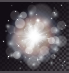 white flash with bokeh and particles vector image