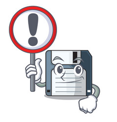With sign cartoon shape in floppy disk vector