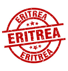 eritrea red round grunge stamp vector image vector image