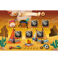 Game template with indians in background vector image vector image