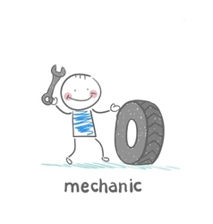 mechanic holding a wrench and a wheel vector image