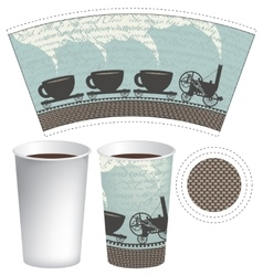 pattern paper cup of tea or coffee vector image