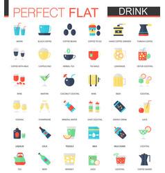 set of flat tea coffee alcohol drinks vector image