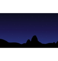 Silhouette of hill and star vector image vector image