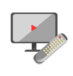 tv or computer screen with play sign and remote vector image vector image