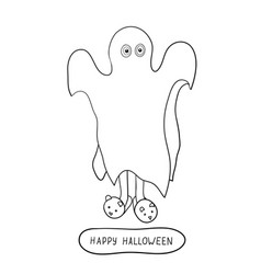 cartoon ghost in badspread isolated on white vector image