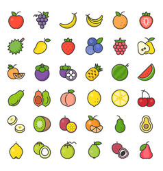 cute fruit filled outline icon set vector image vector image