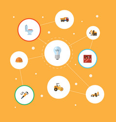 flat icons van tractor restroom and other vector image