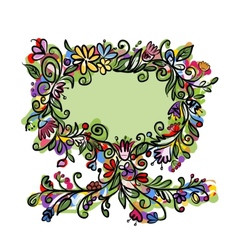 Floral tree with frame for your text vector image vector image